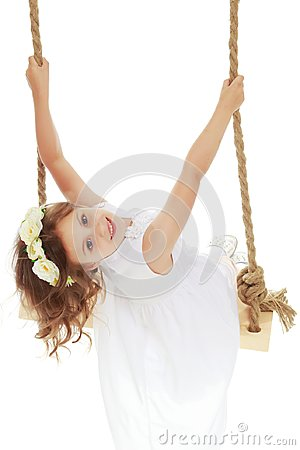 Free Little Girl Swinging On A Swing Royalty Free Stock Images - 106418339