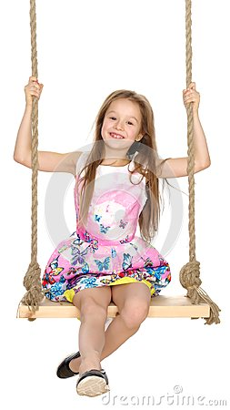 Free Little Girl Swinging On A Swing Royalty Free Stock Photo - 111811815