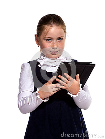 The little girl with the tablet