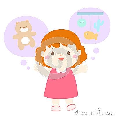 Little girl talkative lively cartoon Vector Illustration