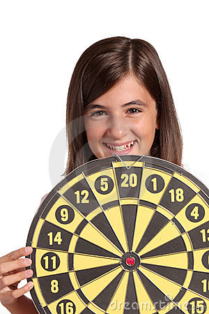 Little girl with target