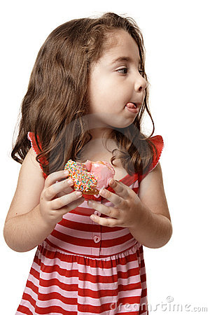 Little girl tasty sweet doughnut