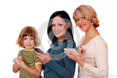 Little girl  teenage girl and woman with phones