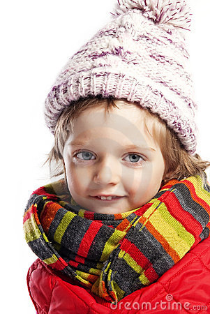 Little girl three  with winter clothes
