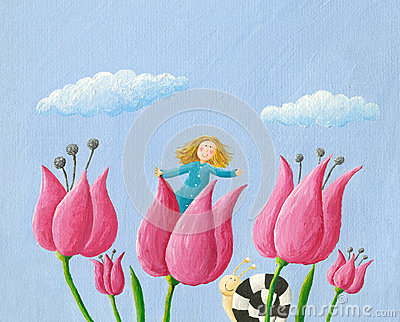 Little girl Thumbelina girl in the tulip