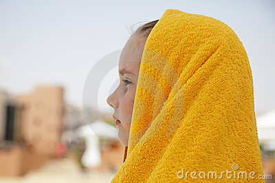 Little girl with towel