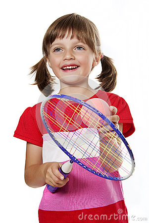 Little girl with a toy tennis racket