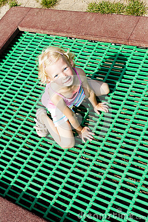 Little girl trampoline