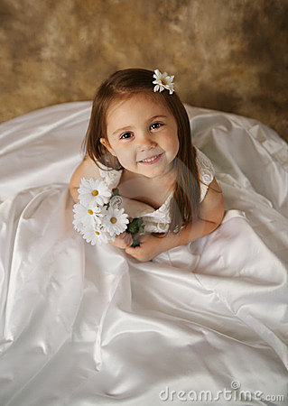 Little Girl Trying On Mommy S Wedding Dress Stock Photos