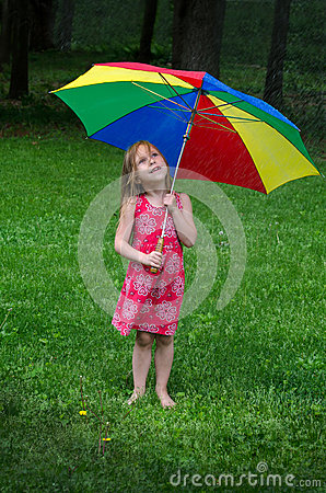 Free Little Girl Under Colorful Umbrella Stock Image - 59525861