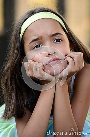Little girl is upset