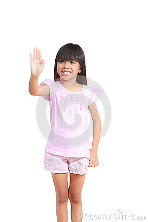 Little girl use hand touch empty whiteboard