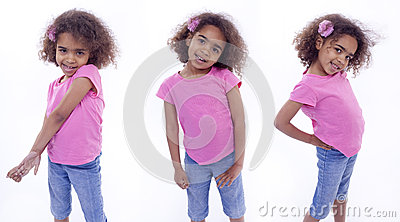 Little girl in various poses