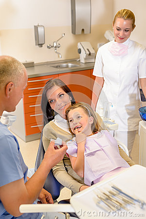 Little girl visit dentist surgery with mother