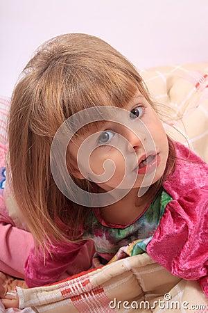 Little girl waking up