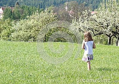 Little girl walking in spring