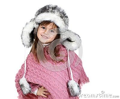 Little girl in warm hat