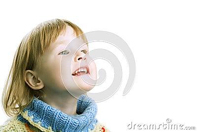 Little girl in warm sweater