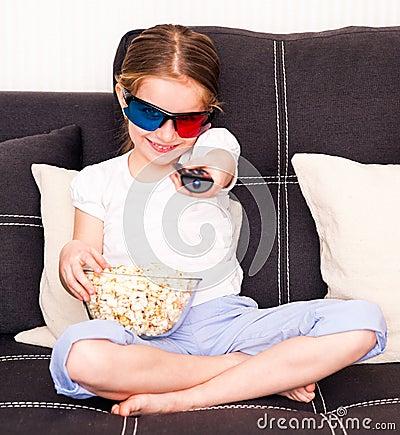 Little girl watching TV
