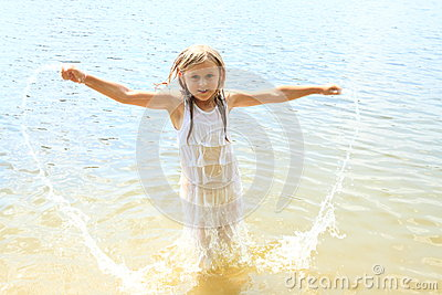 Little Girl In Water Stock Photo Image 42628774