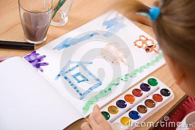 Little girl watercolor paint