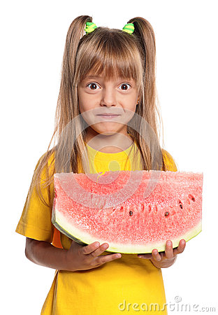 Little girl with watermelon