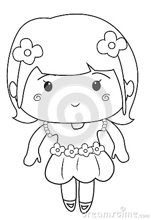 Free Little Girl Wearing A Dress Coloring Page Stock Images - 52087014