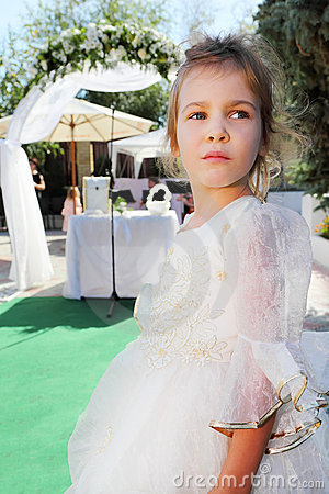 Little girl wearing in beautiful dress on holiday
