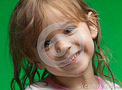 Little girl with wet hair