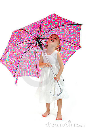 Little girl in white dress with pink umbrella