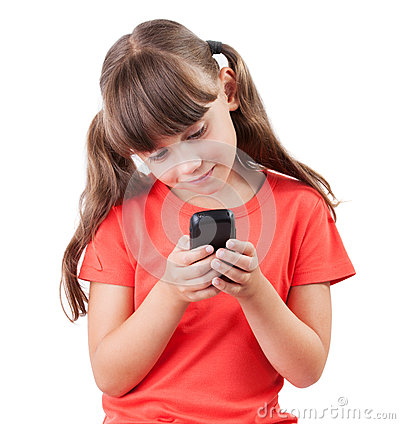 Free Little Girl With A Mobile Phone Royalty Free Stock Images - 27207159