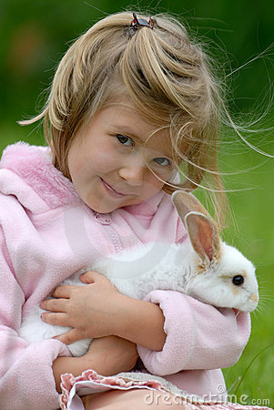 Free Little Girl With A Rabbit Stock Images - 1747854