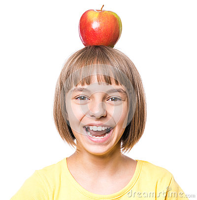 Free Little Girl With Apple Stock Image - 98588501