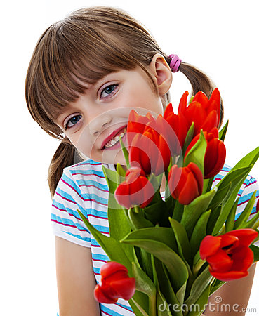 Free Little Girl With Bunch Of Red Tulips Close Up Royalty Free Stock Photo - 28665925