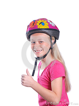 Free Little Girl With Cycling Helmet On White Royalty Free Stock Image - 31188026