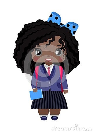 Free Little Girl, With Dark Skin, Black Curly Hair, Gray Eyes, Blue Bow And School Uniform Stock Photos - 117109323