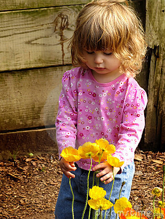 Free Little Girl With Flowers Royalty Free Stock Photo - 783715