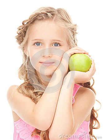 Free Little Girl With Green Apple Royalty Free Stock Photography - 40220777