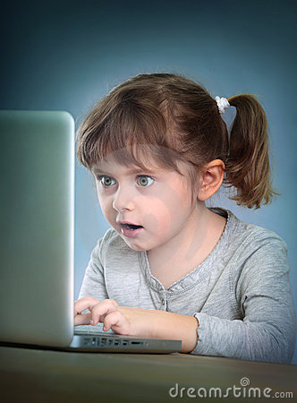 Free Little Girl With Laptop Royalty Free Stock Photo - 21669545