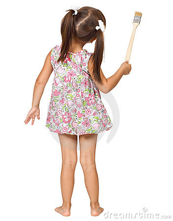 Free Little Girl With Paintbrush Royalty Free Stock Photo - 20937035