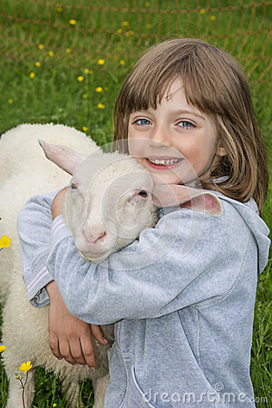 Free Little Girl With Sheep Stock Photography - 30908112