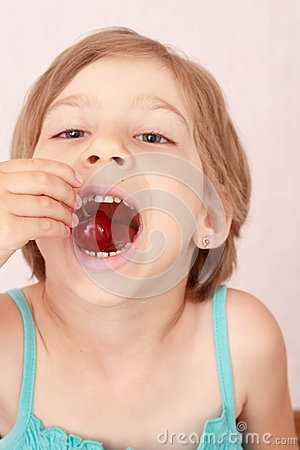 Free Little Girl With Sweet Cherries Royalty Free Stock Image - 56028256