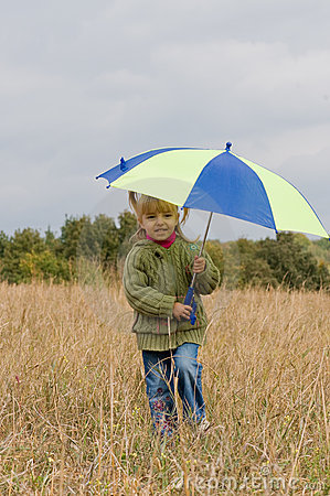 Free Little Girl With Umbrella Stock Image - 11230571
