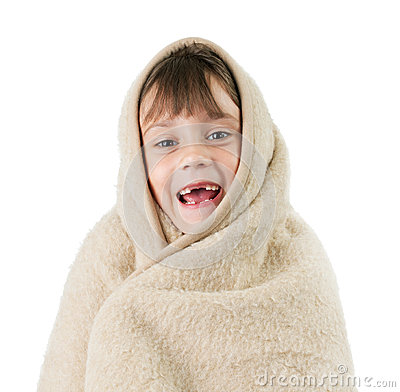 Little girl, wrapped in a blanket