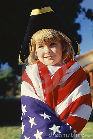 Little Girl Wrapped in U.S. flag Editorial Stock Photo