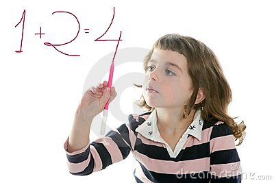 Little girl writing add numbers marker
