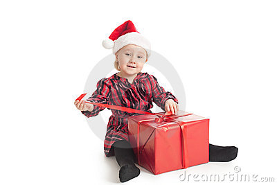 Little girl with xmas gift
