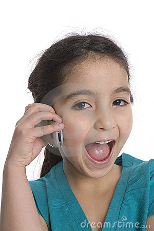 Little Girl Is Yelling Into Her Mobile Phone