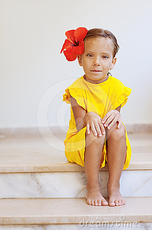 Little Girl In Yellow Dress Stock Images - Image: 24516464