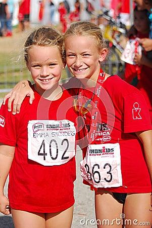 Little girls athletes posing Editorial Image